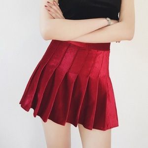 Holiday Red Velvet Pleat Tennis Skirt Mini Skort